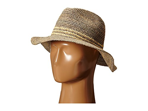 Hat Attack Women's Medium Brim With Inset Trim Natural/Tobacco Hat by Hat Attack
