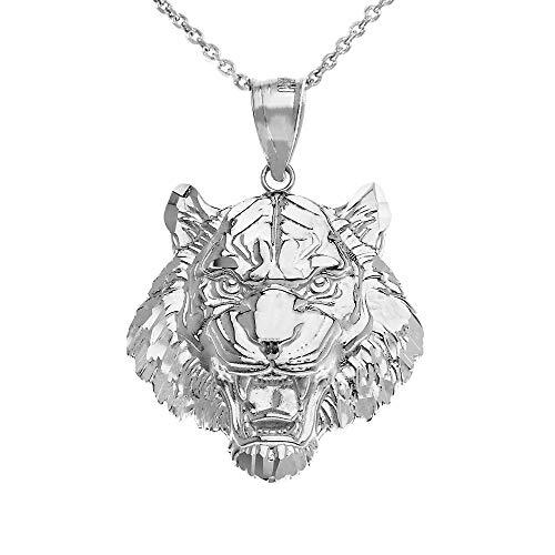 - Elegant 925 Sterling Silver Roaring Tiger Head Pendant Necklace (Large), 22