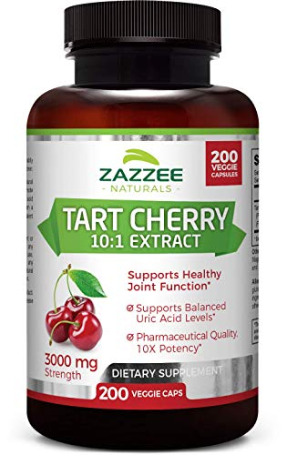 Zazzee Tart Cherry Extract, 200 Veggie Caps, 3000 mg Strength, Potent 10:1 Extract, Over 6-Month Supply, Vegan, Non-GMO and All-Natural (Best Tart Cherry Juice For Arthritis)