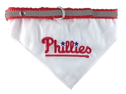 MLB BANDANA - PHILADELPHIA PHILLIES DOG BANDANA with Reflective & Adjustable DOG COLLAR, Small (Philadelphia Phillies Dog Collar)