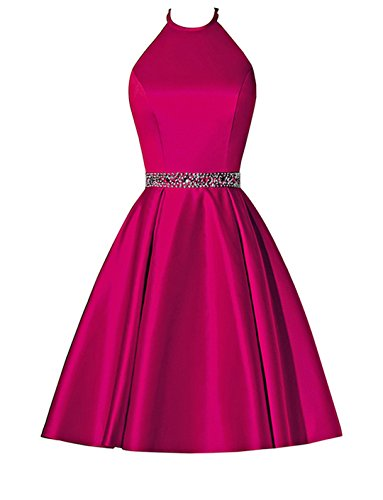 Waist Cocktail BBCbridal Pockets Dress Dress Homecoming Prom Halter Satin Crystal Short Gowns with Fuchsia vxqTwXpZq