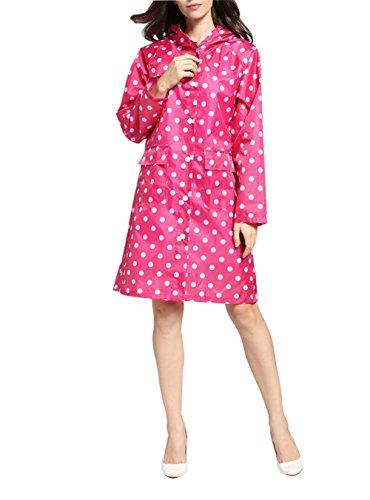 Girl Pluie Femmes Dot Rose de Pluie de Manteau Extrieure Rouge l'eau Vtements Portable Impermables Poncho Style Capuchon Long Wave Veste FxpqwzTF