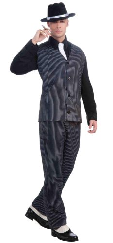 1920 Costumes To (Forum Novelties Men's Roaring 20's Pinstripe Suit Gangster Costume, Black, One Size)