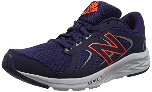 New Balance Men M490v4 Running Shoe Dark Denim/Alpha Orange/Steel/White