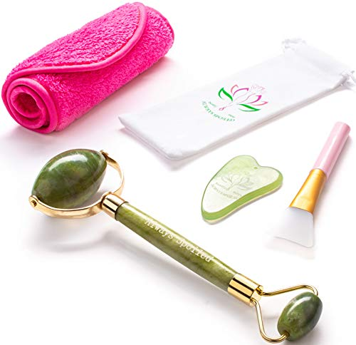 4-in-1 Jade Roller and Gua Sha Set with Mask Brush & Makeup Remover Bonus- Real 100% Natural Jade for Face Neck Body- Complete Beauty Set for Slimming & Firming- Rejuvenate Skin & Remove Wrinkles