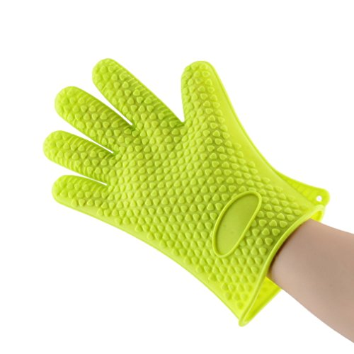 1pcs Kitchen Heat Resistant Silicone Glove Oven Pot Holder Baking BBQ Cook Mitts Green