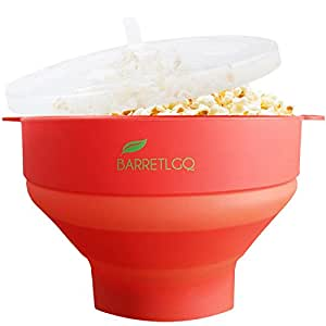 Silicone Microwave Popcorn Popper with Lid for Home - Hot Air Microwave Popcorn Makers with Handles - Collapsible Popcorn Bowl - Easy to Use - Healthy Choice-Red Color