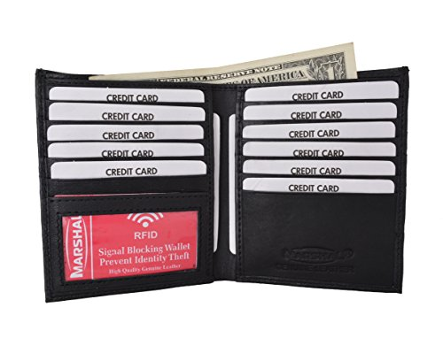 RFID Blocking Bifold Hipster Credit Card Wallet Premium Lambskin Leather (Croco Black)