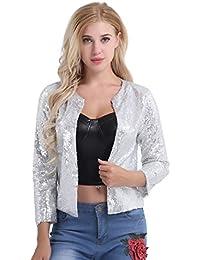 Women Cardigan Jacket Sparkle Sequin Bling Long Sleeve Sweaters Short Tops