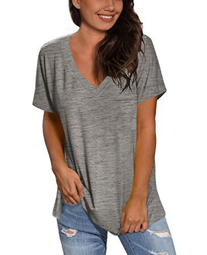 SAMPEEL Womens Tops Blouses Plus Size Short Sleeve Flowy Summer T Shirts Grey L
