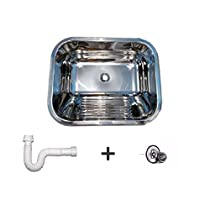 Tanque inox 50x40x22cm para lavanderia polido acompanha