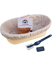 OZ KITCHEN'S Oval Bread Proofing Basket (25x15cm) with Bread Lame - Brotform Banneton Basket Handmade Unbleached Natural Cane with Washable Liner