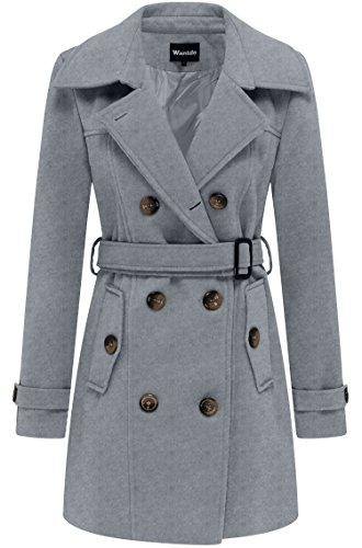 Petite Ladies Coats - Wantdo Women's Double Breasted Pea Coat with Belt US Small Grey