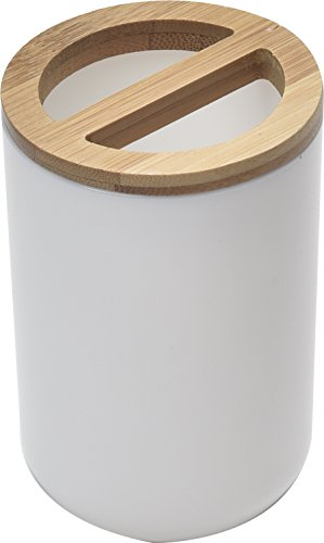 Bamboo Vanity Top Tumbler - EVIDECO Bamboo Top Bathroom Toothbrush and Toothpaste Holder, White/Brown