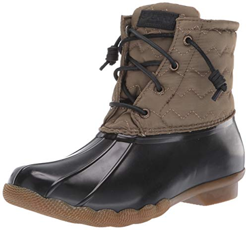 Sperry Womens Saltwater Chevron Quilt Nylon Boots, Olive, 7.5