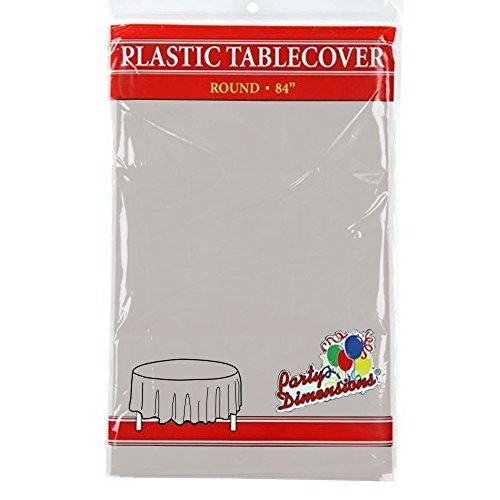 "Silver Round Plastic Tablecloth - 8 Pack - Premium Quality Disposable Party Table Covers for Parties and Events - 84"" - By Party Dimensions"
