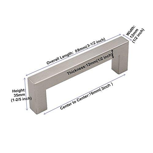 homdiy Cabinet Pulls Brushed Nickel - 15 Pack HDJ12SN 3 inch Drawer Pulls and Knobs Modern Cabinet Handles Brushed Nickel Cabinet Hardware Kitchen Drawer Pulls Square Cabinet Pulls by homdiy (Image #1)