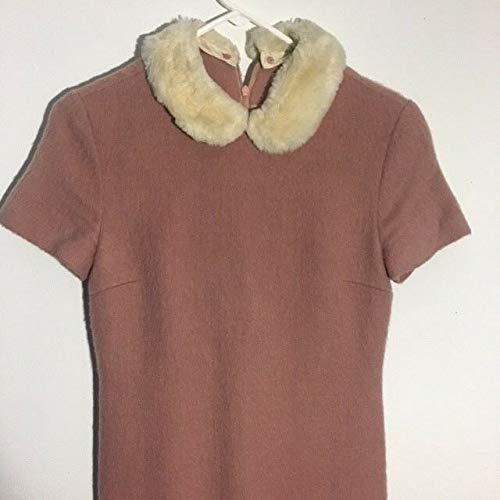 (Adorable Pink Wool Peter Pan Fur Collar 1960s/70s Dress )