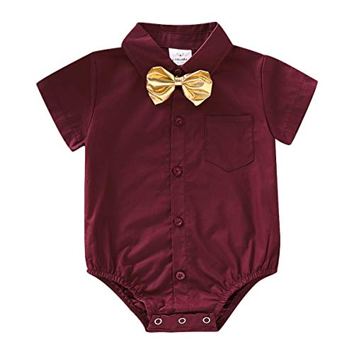 ROMPERINBOX Infant Baby Boys Dress Shirt Bodysuit Formal Short Long Sleeve Rompers for Wedding Party (Wine Red Short Sleeve, 3-6 Months)