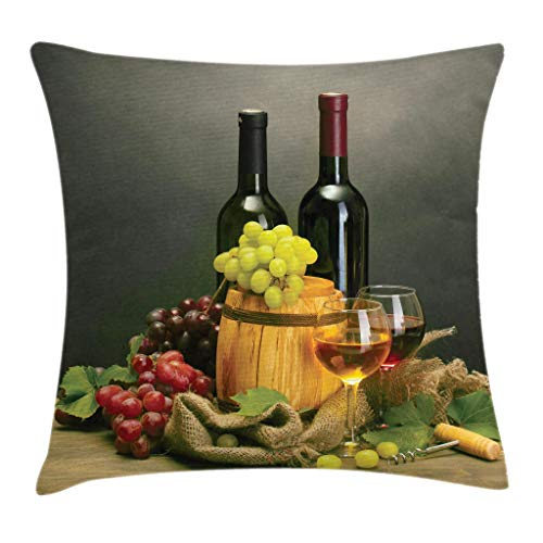 Ambesonne Winery Throw Pillow Cushion Cover, Barrel, Bottles and Glasses of Wine and Ripe Grapes on Wooden Table Decorative Picture, Decorative Square Accent Pillow Case, 16 X 16 Inches, Multi