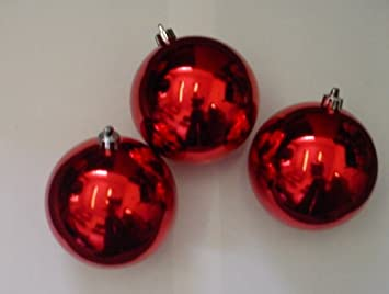 10 Extra Large 100mm RED Colour Christmas Baubles: Amazon.co.uk ...