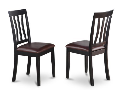 East West Furniture ANC-BLK-LC Dining Chair Set with Faux Leather Seat, Black/Cherry Finish, Set of 2