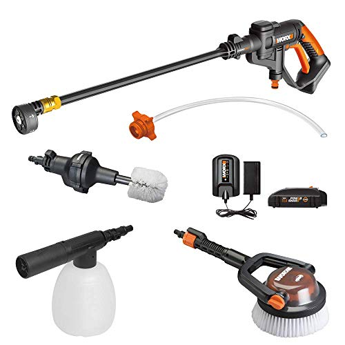 WORX WG625.4 20V Cordless Hydroshot Portable Power Cleaner with Accessories Kit Battery and Charger Included (Battery Operated Power Washer As Seen On Tv)