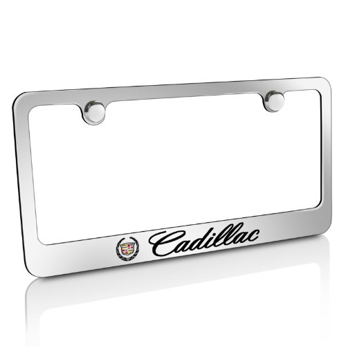 Cadillac Logo Chrome Solid Brass License Frame, Official Licensed