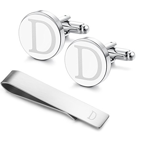 (LOYALLOOK Classic Engraved Initial Cufflinks and Tie Clip Bar Set Alphabet Letter Formal Business Wedding Shirts D)