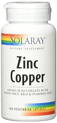 Solaray Zinc + Copper Amino Acid Chelate VCapsules, 100 Count - Solaray Kelp
