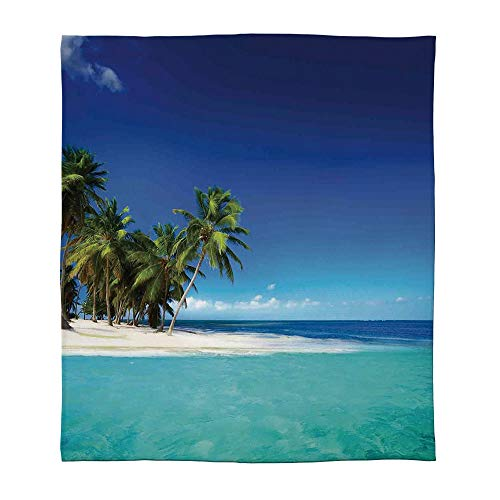 YOLIYANA Warm Flannel Blanket,Ocean Decor,for Folding Bed Crib, Stroller, Travel, Couch and Bed,Size Throw/Twin/Queen/King,Seaside View Tropical Nature Landscape ()