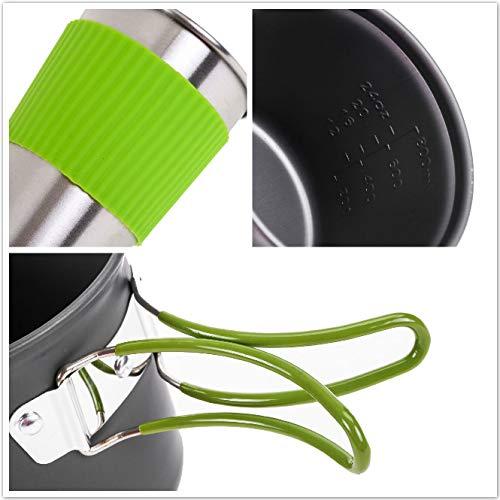 Wuudi Batterie de Cuisine de Pique-Nique en Plein air 1-2 Personnes Camping Randonn/ée Sac /à Dos Combinaison de casseroles Combinaison de Vaisselle Portable