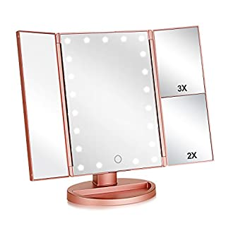 Flymiro Tri-fold Lighted Vanity Makeup Mirror with 3x/2x Magnification,21 LEDs Light and Touch Screen,180 Degree Free Rotation Countertop Cosmetic Mirror,Travel Makeup Mirror (Rose Gold)