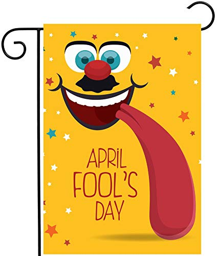 ShineSnow April Fools Day Hipster Funny Yellow Cartoon Long Tongue Garden Yard Flag 12