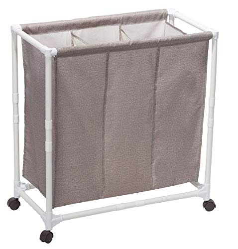 STORAGE MANIAC 3-Section Rolling Laundry Sorter Hamper with Lockable Wheels, Poartable Laundry Cart for Dorm/Apartment, Coffee -