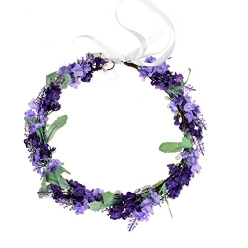 Vividsun Lavender Flower Crown Floral Wreath Headband Photo Props (Mix/purple) (Lavender Hair Band)