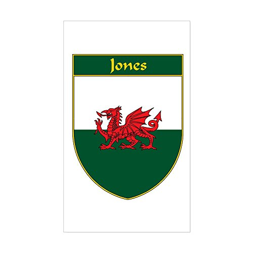 CafePress - Jones Welsh Flag Shield Rectangle Sticker - Rectangle Bumper Sticker Car (Welsh Shield)