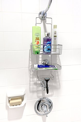 Gecko Loc Tall Shower Caddy With Super Suction Cup Shower