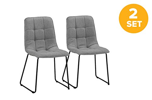 Set of 2 Dining Room Chairs, Linen Fabric Kitchen Chairs (Grey) Review