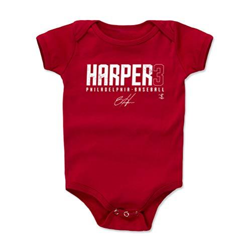 500 LEVEL Bryce Harper Philadelphia Baseball Baby Clothes, Onesie, Creeper, Bodysuit (12-18 Months, Red) - Bryce Harper Elite W WHT ()