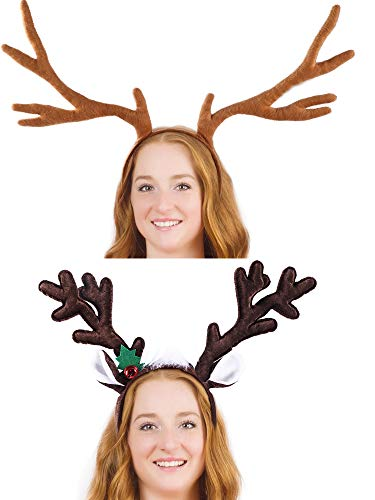 Blulu 2 Pieces Christmas Reindeer Headband Antlers Hairband Headwear Accessories for Party Decoration, 2 Styles (Headband 2 Piece)