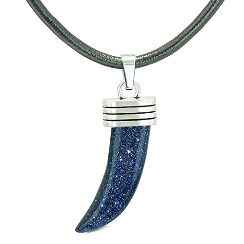 - Italian Horn Pepper Protection Powers Tooth Amulet Blue Goldstone Lucky Charm Leather Necklace