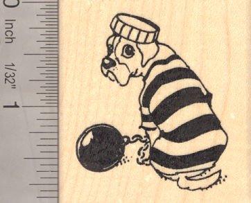 Boxer Dog in Prisoner Costume, Halloween Rubber Stamp ()