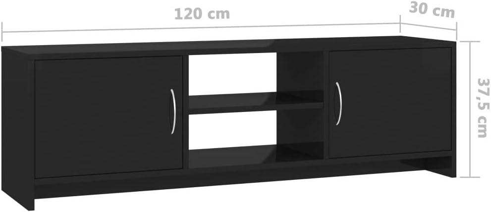 colore: Nero lucido Mobile porta TV VidaXL 120 x 30 x 37,5 cm