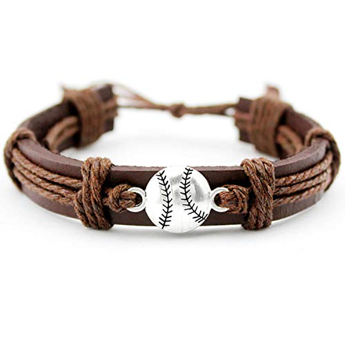 Tennis Baseball Volleyball Soccer Football Softball Hockey Golf Charm Leather Bracelets Jewelry Gift