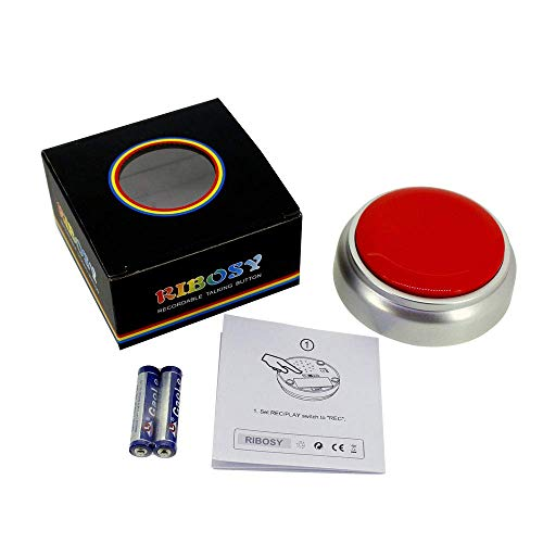 Heart Buttons Novelty - RIBOSY Recordable Talking Button - Record Any 30 Seconds Surprise Message (Batteries Included)