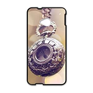 Personalized Clear Phone Case For HTC M7,old clock design