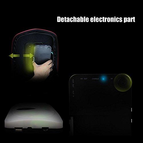 WILDMAN Multi-Functional Waterproof Lightweight Enabled Wireless Bluetooth Speaker LED Light Backpack (Black) by Wildman (Image #4)