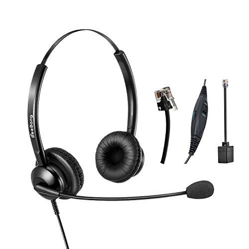 Wired Telephone Headset Binaural Call Center RJ9 Headset with Microphone Noise Cancelling for Landline Phone Avaya Plantronics Polycom Siemens Snom Toshiba Mitel NEC Nortel Alcatel -