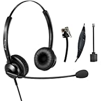 Wired Telephone Headset Binaural Call Center RJ9 Headset with Microphone Noise Cancelling for Landline Phone Avaya Plantronics Polycom Siemens Snom Toshiba Mitel NEC Nortel Alcatel